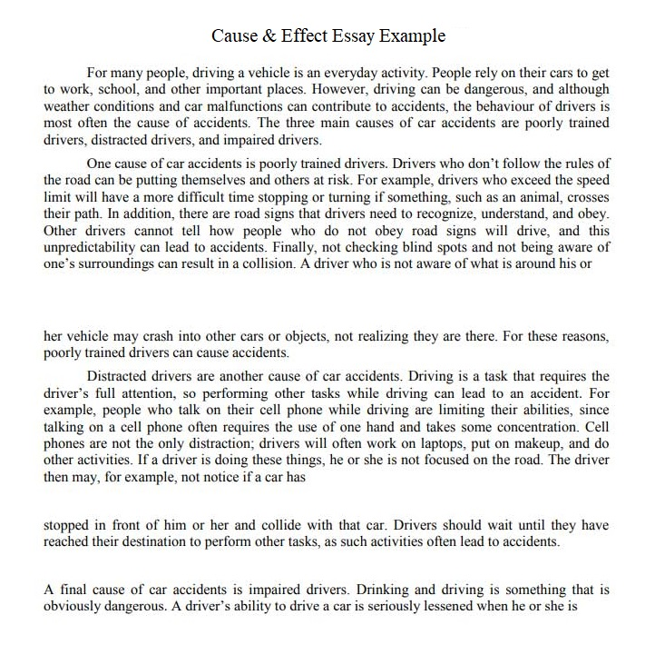 cause and effect sample essays