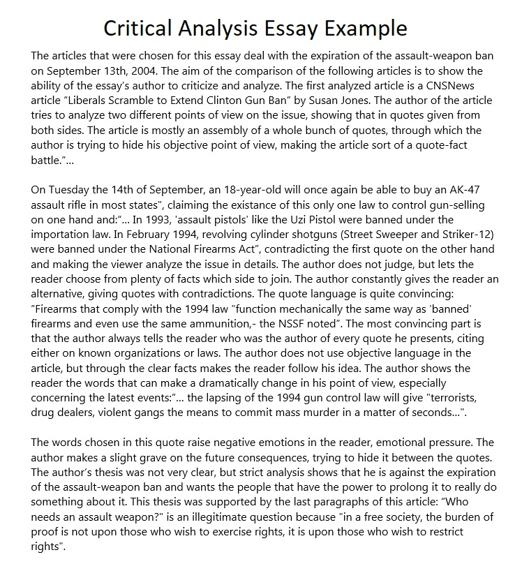 sample critical analysis essays
