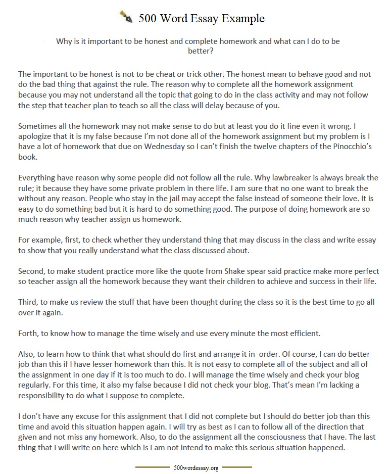 500 Word Essay template