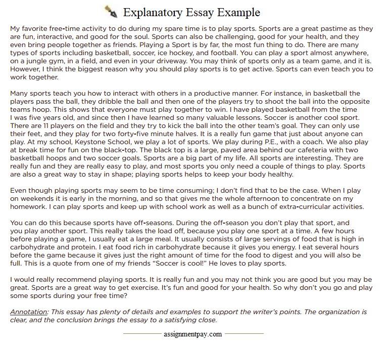 explanation essay sample