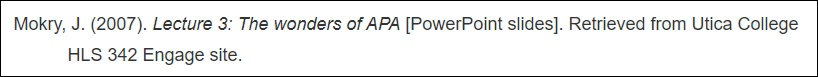 APA citing a lecture