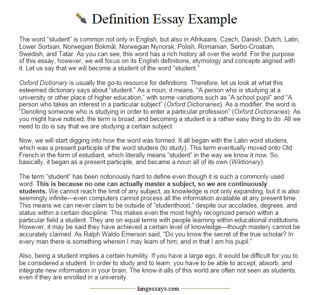 definition essay words