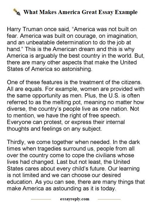 why america is great essay example